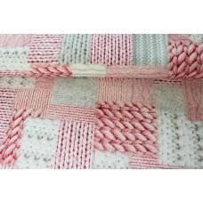 Dekostoff Strick rosa-weiß