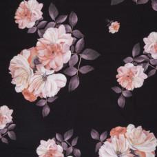 """Jersey """"Matti"""" Blumen schwarz/rosa 50 cm Reststück"""