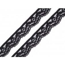 Spitzenband elastisch Blume schwarz