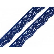 Spitzenband elastisch Blume royalblau