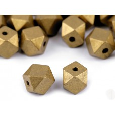 "Holzperlen ""Diamant"" gold/bronze"
