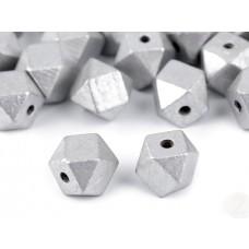 "Holzperlen ""Diamant"" silber"