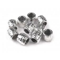 Großlochperlen Metallic Silber