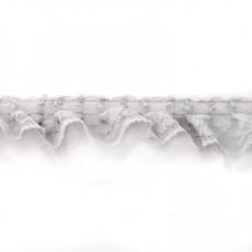 Tüllrüsche mit Spitze grau