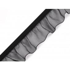 Rüschengummi Organza 25 mm schwarz