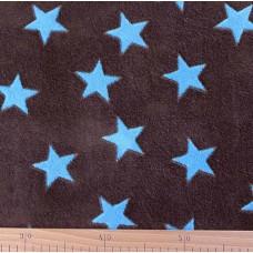 Kuschelfleece Sterne braun / aqua