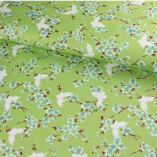 Chloe Butterfly Green Baumwoll Webstoff