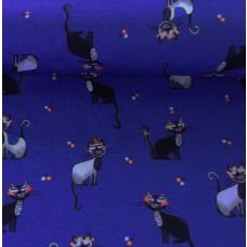Katzen dunkelblau Stretchjersey