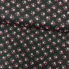 Blümchen pink-schwarz Baumwoll Webstoff