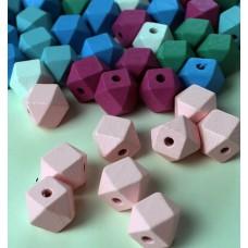 "Holzperlen ""Diamant"" rosa"
