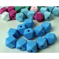 "Holzperlen ""Diamant"" blau"