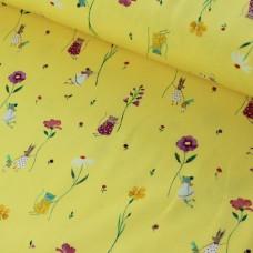 Mini Summer Wiese Jersey gelb 70 cm Reststück
