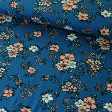 """Viskosejersey """"Selina"""" Blumen auf blau"""