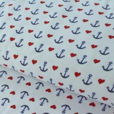 Ankerliebe weiß Jersey 65 cm Reststück