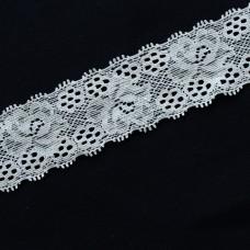 Spitzenband elastisch 35 mm weiß