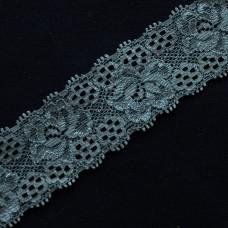 Spitzenband elastisch 35 mm grau