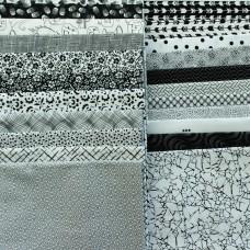 Webstoff Set schwarz-weiß 5 Stoffe im Paket