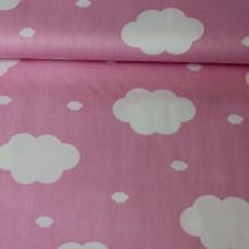 Wolken rosa Baumwoll Webstoff
