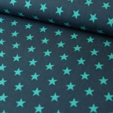 Sterne grau/mint Baumwoll Webstoff