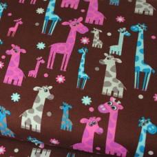 Giraffen braun Baumwoll Webstoff