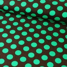 Dots braun/smaragd Baumwoll Webstoff