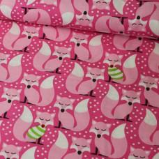 Füchse rosa Baumwoll Webstoff