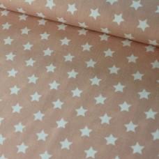 Sterne apricot/weiß Baumwoll Webstoff
