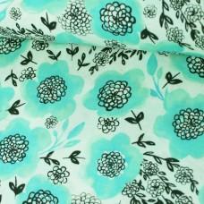 Flowers mint Baumwoll Webstoff