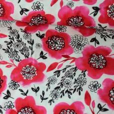 Flowers rot Baumwoll Webstoff