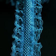 Rüschenband elastisch türkis