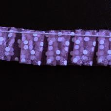 Rüsche gepunktet lila weiß