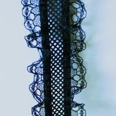 Rüschenband elastisch schwarz