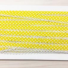 Schrägband Punkte gelb mit Häkelborte