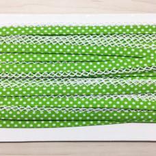 Schrägband Punkte grün mit Häkelborte
