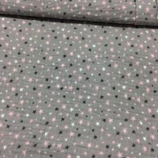 Musselin Sterne rosa/grau 47 cm Reststück