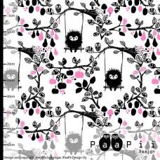Siiri in the Swing white/pink Bio Baumwolle Webstoff