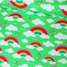 Regenbogen grün Stretchjersey 50 cm Reststück