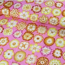 Kaffe Fassett Button Flowers Pink Baumwoll Webstoff