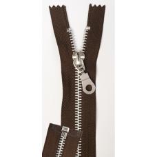 Metall-Reißverschluß 80 cm braun