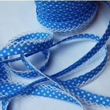 Schrägband Punkte blau mit Häkelborte