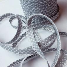 Schrägband Punkte grau mit Häkelborte