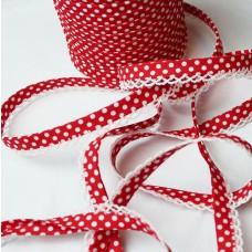 Schrägband Punkte rot mit Häkelborte