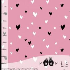 Hearts light pink Bio-Stretchjersey 44cm Reststück