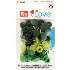 Prym Love Color Snaps apfelgrün-grün-dunkelgrün