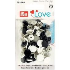 Prym Love Color Snaps weiß-grau-schwarz