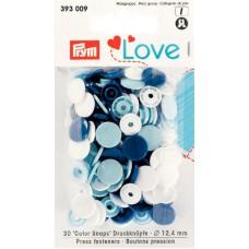 Prym Love Color Snaps weiß-hellblau-dunkelblau