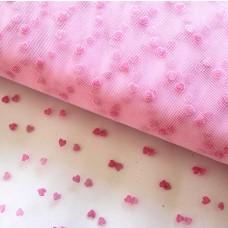 Tüll Flock-Herzen rosa