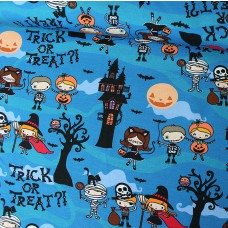 Trick or Treat blau Stretchjersey 35 cm Reststück